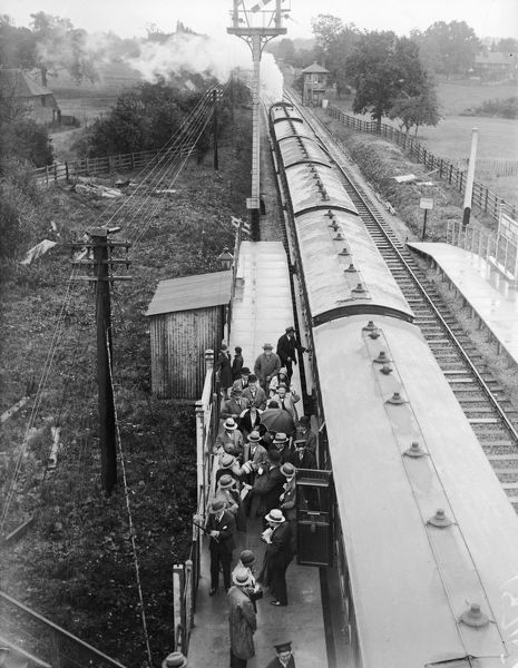 July 1929: A train pulls in at Hurst Green Station, Lancashire. (Photo by Fox Photos/Getty Images)