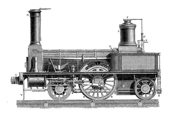 Antique illustration of scientific discoveries: Steam power locomotive
