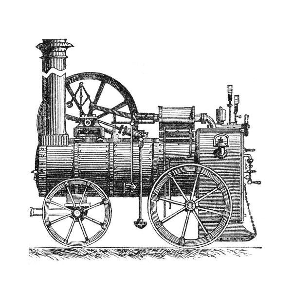 "Steel engraving Locomotive illustration   Original edition from my own archives   Source : ""Nouveau Dictionnaire"" 1888"