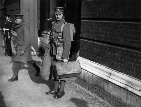Arriving Soldier. 4th May 1926: A soldier arriving in Hyde Park during the general strike