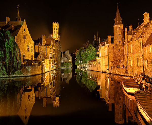 Brugge by night. beautiful reflection of old town of Brugge,Belgie