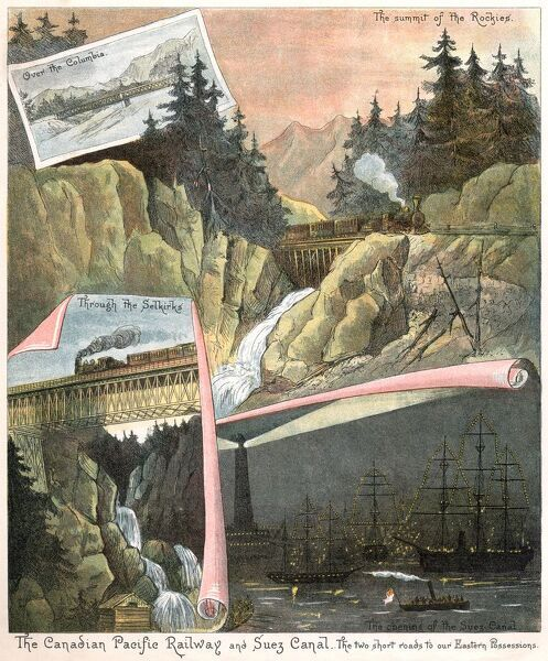 A montage showing the Canadian Pacific Railway and the Suez Canal in Egypt - both constructed during the reign of Queen Victoria and published in a book to celebrate her Golden Jubilee