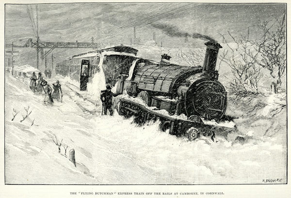 Vintage engraving of The Flying Dutchman Express Train off the Rails at Camborne, in Cornwall, during heavy snow. The London Illustrated News, 1891