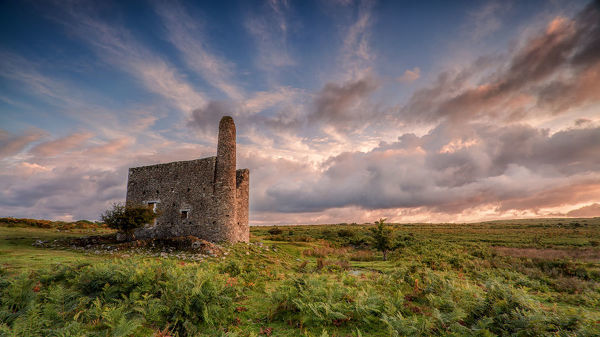 The Minions, Cornwall. August 19, 2014.   A morning shot of an abandoned mine ruin near Minions, Bodmin Moor, Cornwall