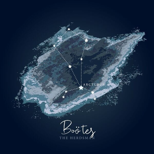 Simple, modern depiction of a celestial constellation on a navy backdrop. Bo�tes constellation lies in the northern hemisphere. It is one of the largest constellations in the sky. Its name comes from the Greek word ??????, Bo?t?s