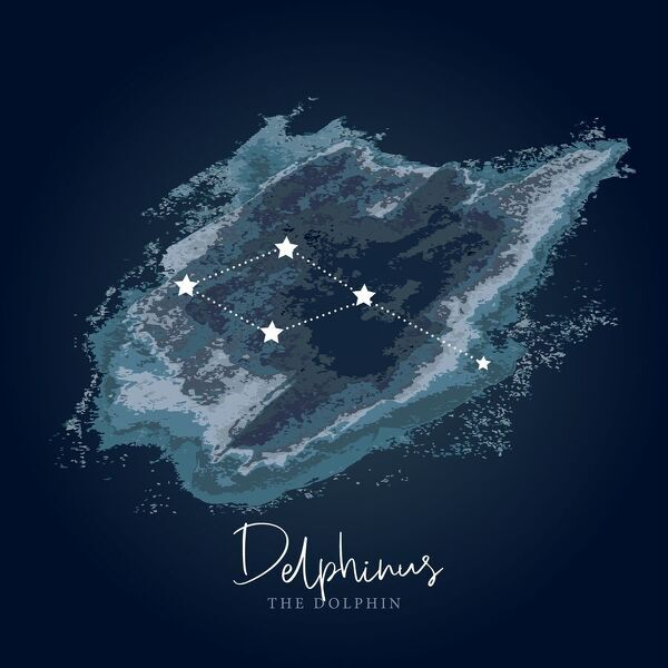 Simple, modern depiction of a celestial constellation, Delphinus is one of the 48 constellations cataloged by the Greek astronomer Ptolemy in the second century. Its name means ?the dolphin? in Latin. It is an ancient constellation with roots in many ancient cultures