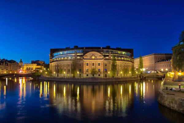The Parliament House (Swedish: Riksdagshuset), is the seat of the parliament of Sweden, the Riksdag. It is located on nearly half of Helgeandsholmen (island), in the Gamla stan (old town) district of central Stockholm