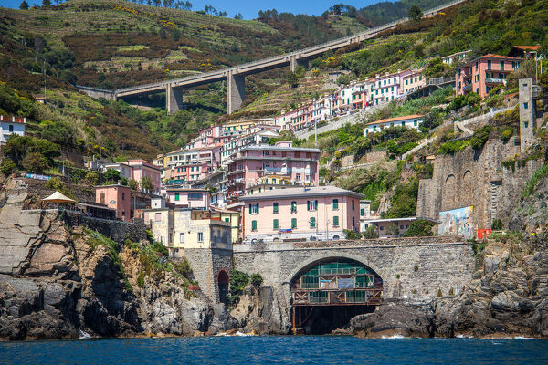Riomaggiore Station. Panoramic view of Riomaggiore Train Station, Cinque Terre, Italy