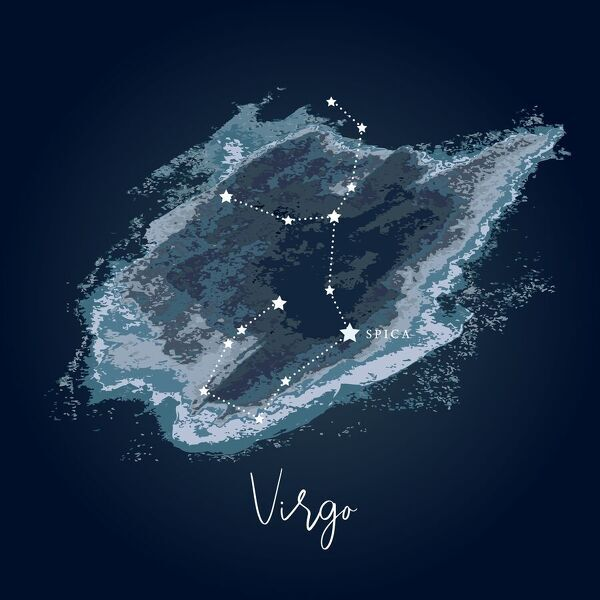 Simple, modern depiction of a celestial constellation on a navy backdrop. Virgo is the largest constellation of the Zodiac and the second-largest constellation overall, behind Hydra. Virgo covers 1,294 square degrees. Most of the constellation's stars are dim