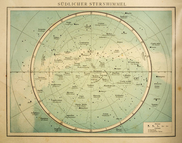 The southern sky - south of the celestial equator engraving 1896