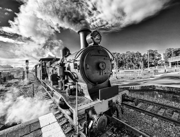 Steam train in action during steamfest at Maitland, Australia