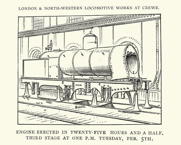 Vintage engraving of a Stream Train under construction at the London and North Western Locomotive Works, at Crewe, 1892, 19th Century