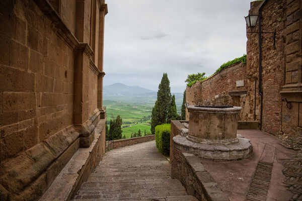 Panoramic view of Valley of Val d'Orcia from walls of medieval town of Montalcino in Tuscany,Italy