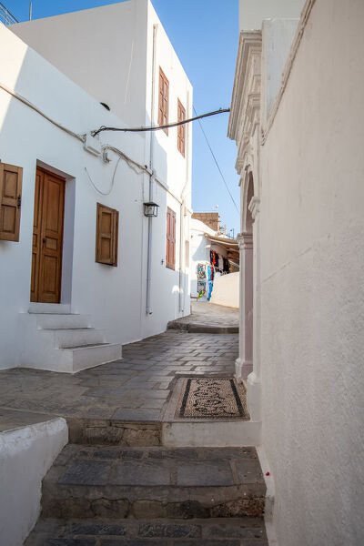 White coloroed architecture of houses in Lindos on greek island of Rhodos ,Greece