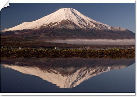 Upside down Fuji reflected in Lake Yamanaka of puddles, rather than the lake surface