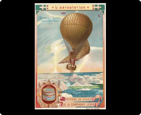 Illustrated postcard depicting Swedish engineer Solomon Andree's hot air balloon voyage to the North Pole, July 1897. His remains were discovered three years later. (Kean Collection/Getty Images)