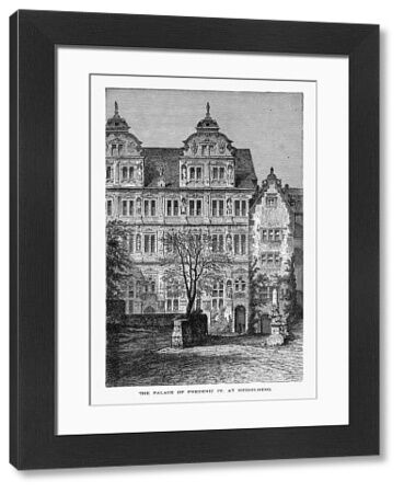 Beautifully Illustrated Antique Engraved Victorian Illustration of Palace of Frederic IV at Heidelberg, Germany Circa 1887. Source: Original edition from my own archives. Copyright has expired on this artwork. Digitally restored