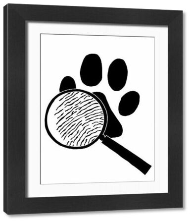 'Illustration of magnifying glass and paw, Sherlock Holmes mystery The Hound of the Baskervilles'