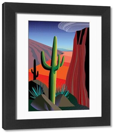 Close-up view of Saguaro and Yucca cactus in minimalist style desert mountain landscape. Evocative of Tucson and Phoenix, Arizona, Mojave Desert of California and Nevada and Sonoran desert of Sonora and Baja California, Mexico