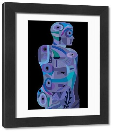 Modern abstract man in geometric style with blue, turquoise and lavender colors