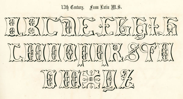 Vintage engraving of the alphabet in an 13th century medieval style from the Book of Ornamental Alphabets by F.G. Delamotte published in 1879 now in the public domain