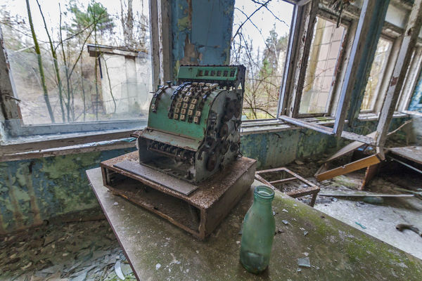 Chernobyl zone, school number 2 in the city of Pripyat. Old cash register in the school cafeteria. Here, the students bought cakes and lunches