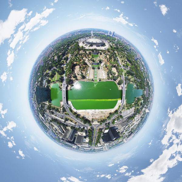 360A? aerial view above Lago dell'EUR located in a modern green area in Roma, Italy