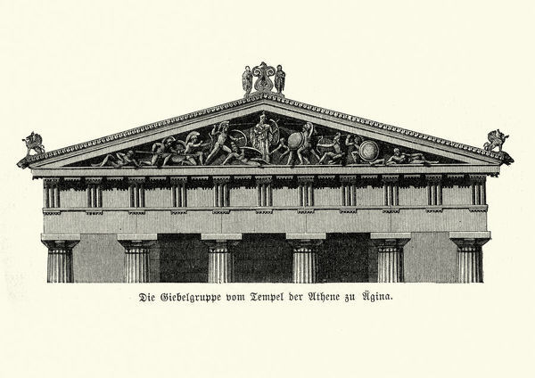 Vintage engraving of Ancient Architecture, Temple of Athena