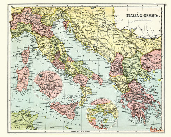 Vintage engraving of a Antique map of Ancient Italy and Greece