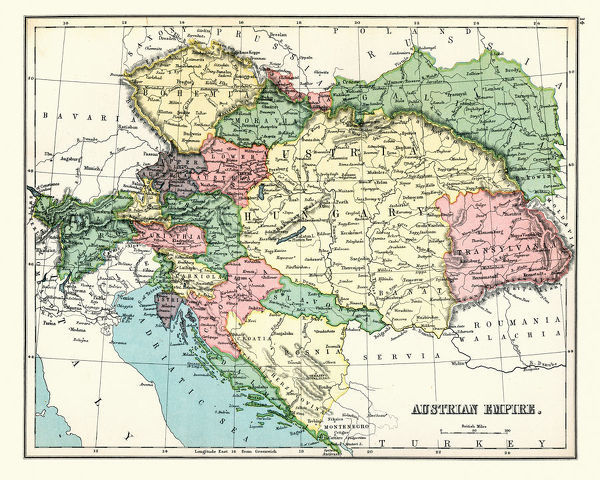 Vintage engraving of a Antique map of Austrian Empire, 1897, late 19th Century
