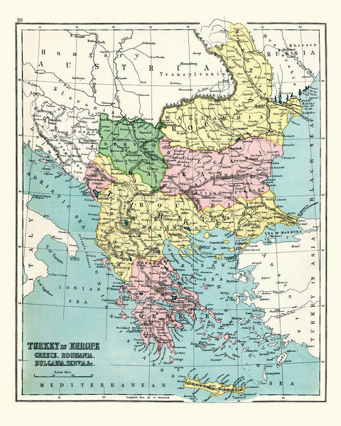 Vintage engraving of a Antique map of Greece, Romania, Bulgaria, 1897, late 19th Century
