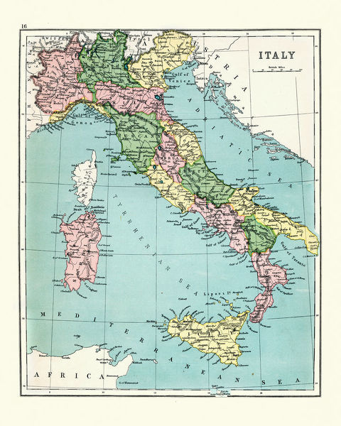Vintage engraving of a Antique map of Italy, 1897, late 19th Century