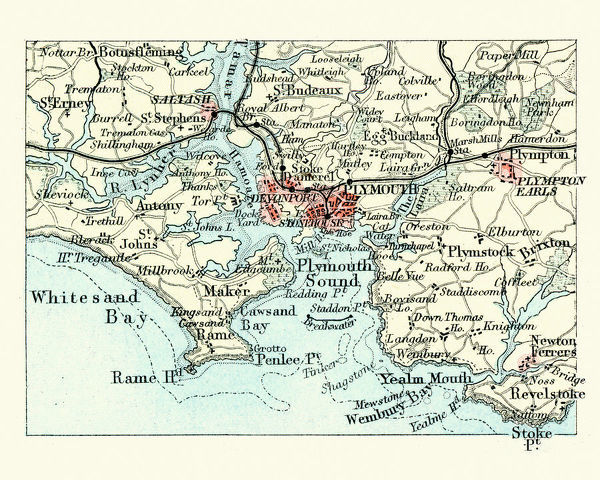 Prints Of Antique Map Plymouth And Devonport England 19th Century