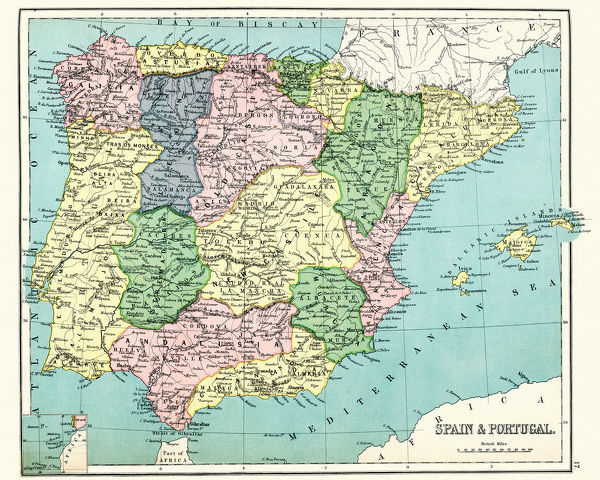 Vintage engraving of a Antique map of Spain and Portugal, 1897, late 19th Century