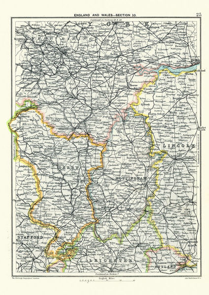 Antique Map West Yorkshire Derby Nottingham Lincoln 19th