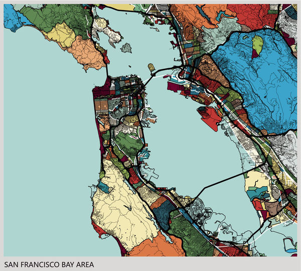 Art Illustration Background San Francisco Bay Area Map 15193012 Includes all train stops and details about the tracks. print of art illustration background san francisco bay area map