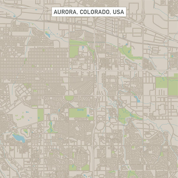 Aurora Colorado US City Street Map - Vector Illustration of a City ...