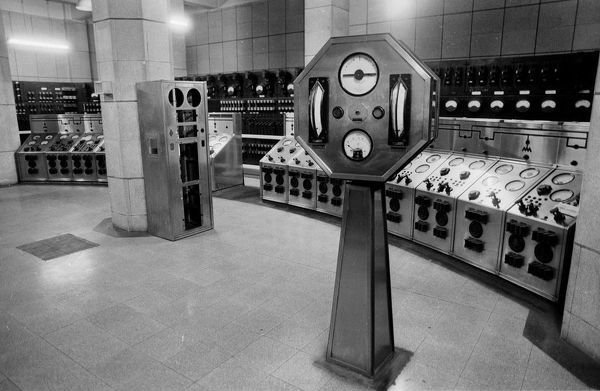 One of the futuristic control rooms of Battersea Power Station in London. The impressive building closed in 1983