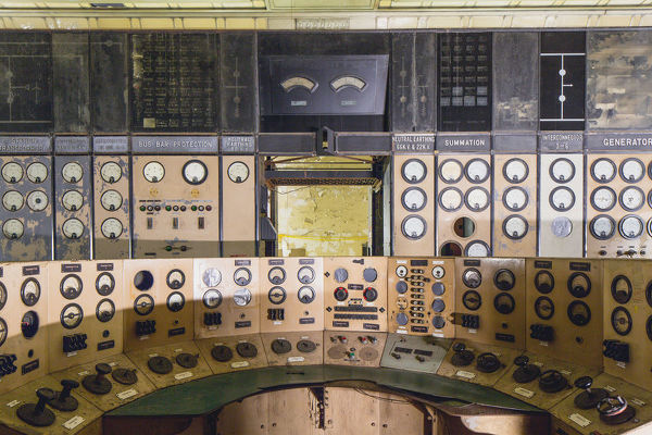 One of the control room desks in Battersea Power Station, London