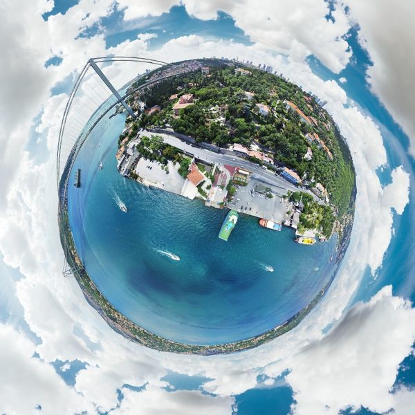 Bosphorus is where Europe and Asia connect. Enjoy this awesome 360-degree view of Bosphorus from the sky