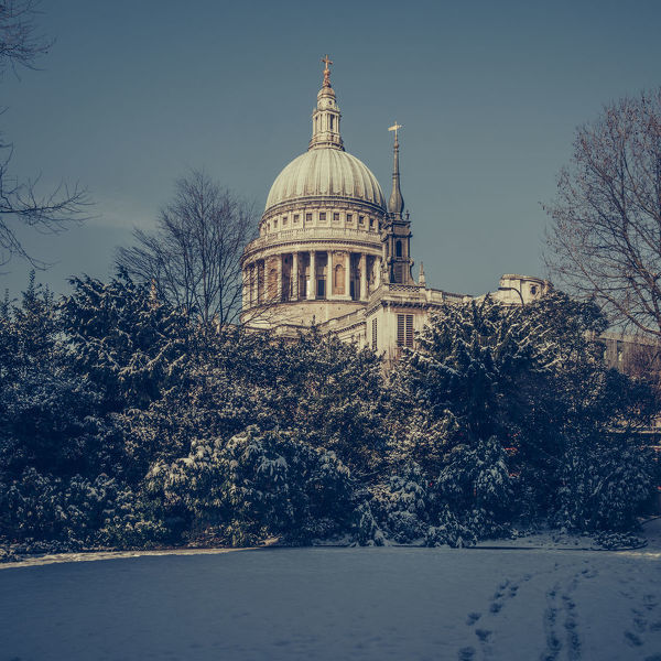 A snowy St Paul's Cathedral, London, UK