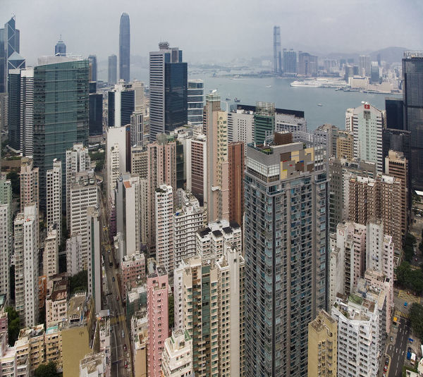 building, china, city, cityscape, color image, crowded, day, harbor, harbour, high angle view