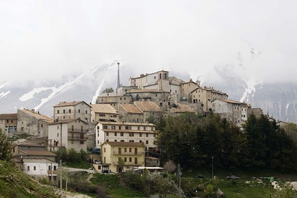 buildings, castellucio, copy space, day, europe, fog, foggy, italy, mountain, nobody