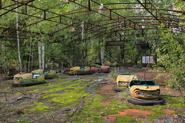 One of the main children's attractions in the theme park of Pripyat - a now-abandoned city near Chernobyl nuclear power plant