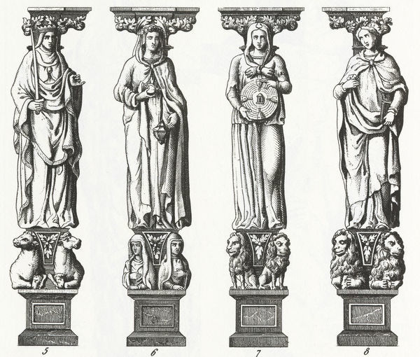 Engraved illustrations of Renaissance Sculpture from Iconographic Encyclopedia of Science, Literature and Art, Published in 1851. Copyright has expired on this artwork. Digitally restored