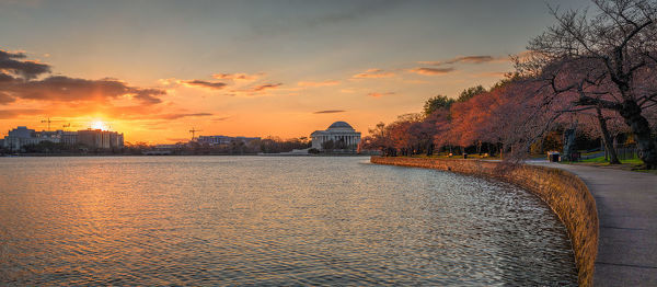 Sunrise on the Tidal Basin in Washington, DC early in the cherry blossom season