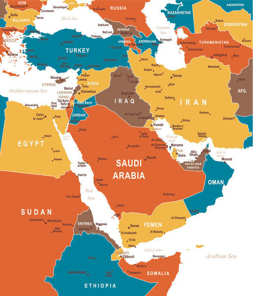 Colored Map of Middle East - Map of Middle East Asia - illustration ...