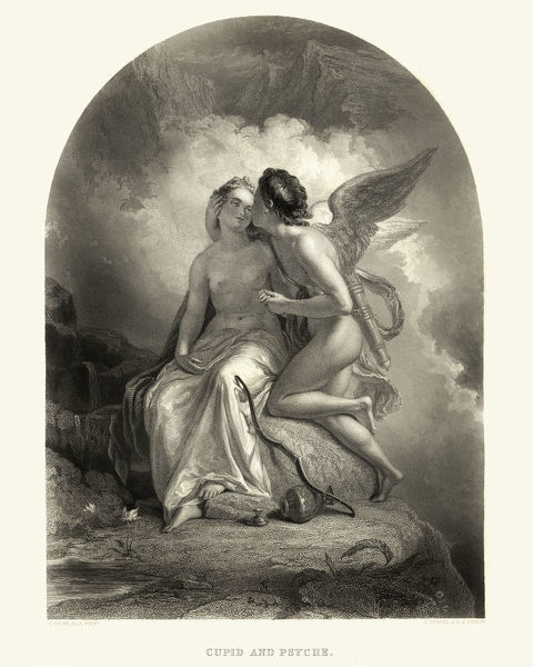 Cupid and Psyche. Vintage engraving of Cupid and Psyche a story originally