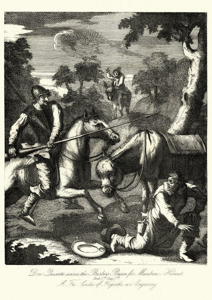 Vintage engraving of Don Quixote seizes the Barber's Basin for the Mambunos Helmet by William Hogarth