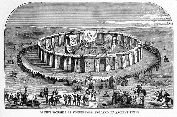 Druids Worshiping at Stonehenge, England in Ancient Times Engraving